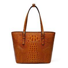 Diana Croc Leather Tote Handbag - Brown