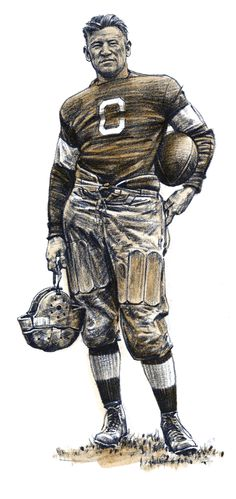 Jim Thorpe in his Carlisle (c. 1907) school uniform, lithograph and sepia wash by Robert Riger