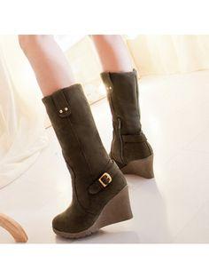 Round Toe Slip-On Plain Wedge Heel Buckle Women's Boots Riding Boots, Women's Boots, Boots Online, Fashion Essentials, Knee High Boots, Wedge Heels, Fashion Boots, Footwear, Slip On