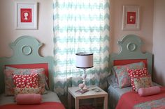 Simply Design: A Coral, pink and blue little girls room...