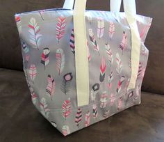 Pink Grey Feather print tote bag cotton bag reusable grocery