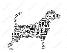 Fun Beagle Dog Collage Word Art Calligram by queenofheartgifts, $14.99