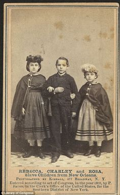 Propaganda: Four child slaves of mixed-race heritage with pale skin were used in pictures to raise funds for African-American schools following Emancipation.