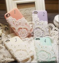 pastel coloured lace and pearl iPhone covers