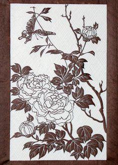 Antique Japanese Kimono Fabric Stencil Katagami Print Edo Woodblock #Antiquefabricstencilworkshop