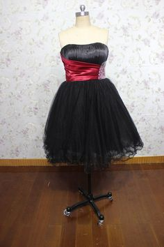 black strapless beaded princess mini skirt short evening gown. $168.00, via Etsy.