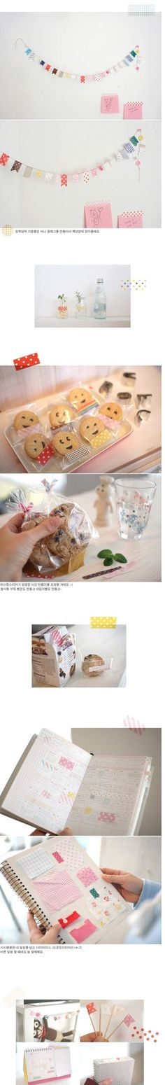 japanese masking tape made into banners and more = genius!: cute ideas!