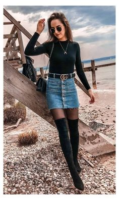 Winter Boots Outfits, Trendy Fall Outfits, Winter Skirt Outfit, Winter Fashion Outfits, Look Fashion, Fashion Models, Autumn Fashion, Fall Boots, Summer Outfits