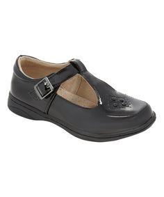 Black Saddle Patent T-Strap Mary Jane - Girls