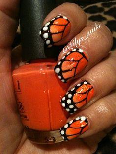 Monarch Butterfly by Lilys_nails - Nail Art Gallery nailartgallery.nailsmag.com by Nails Magazine www.nailsmag.com #nailart