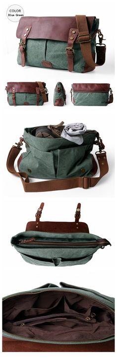 Canvas Leather Briefcase Messenger Bag Shoulder Bag Laptop Bag
