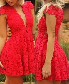 Sexy Plunging Neck Short Sleeve Solid Color Lace Dress For Women red (Sexy Plunging Neck Short Sleeve Solid Color Lace) by http://www.irockbags.com/sexy-plunging-neck-short-sleeve-solid-color-lace-dress-for-women-red