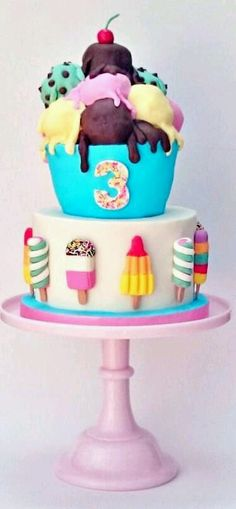 I love rocket lollies, twisters, fabs and i adore ice cream! My kind of cake! I love rocket lollies, twisters, fabs and i adore ice. Food Cakes, Cupcake Cakes, Car Cakes, No Bake Treats, Yummy Treats, Sweet Treats, Rocket Lolly, Huge Cake, Chewy Brownies