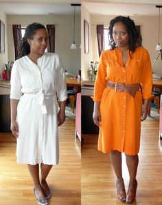 dye a white cotton dress, 10 Ways to Refashion Thrift Store Finds For Fall, add pockets to a skirt, metallic block heels tutorial, convert clip-on earrings to post back, dye white clothes, add a graphic to sweatshirts with a stencil, change old pants to jogger pants, add feathers to mules, DIY a thrift store men's button up shirt into a comfortable, relaxed tunic top.