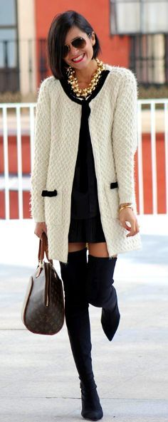 Fall/winter fashion || long boots, white vest and Ray-Ban Aviator RB3025 Gradient. http://www.visiondirect.com.au/designer-sunglasses/Ray-Ban/Ray-Ban-RB3025-Aviator-Gradient-001/51-52178.html