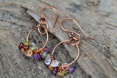 Gemstone Hoop Earrings Multi Color Earrings by SoManyPrettyBeads