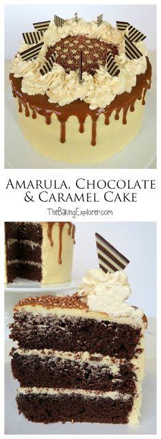 Amarula, Chocolate & Caramel Cake - The Baking Explorer Baking Recipes, Cake Recipes, Dessert Recipes, Sweet Recipes, Chocolate Caramel Cake, Decadent Cakes, Chocolate Shavings, Cupcake Cakes, Cupcakes