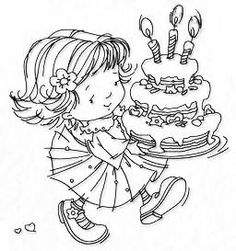 Nellie Snellen stamp girl with birthday cake Whimsy Stamps, Marianne Design, Coloring Book Pages, Copics, Color Card, Digital Stamps, Coloring Pages For Kids, Clear Stamps, Card Making