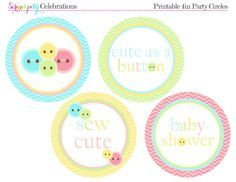 We Heart Parties: Free Printable Party Decor, Banners, Cupcake Toppers, Water Bottle Labels Cute As A Button