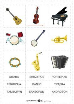 Instrumenty muzyczne - Printoteka.pl Prayer For My Family, Projects To Try, Album, Education, Speech Language Therapy, Therapy, Prayer For Family, Onderwijs, Learning