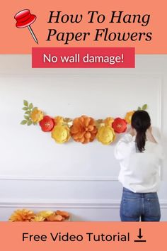 One of the most common questions I get asked almost every day is how to hang paper flowers on the wall. So I made a very detailed video in which I hang my new summer paper flowers set and show you step-by-step how I hang paper flowers and what I like to use for it. For video tutorial - follow the pin link #paperflowers #paperflowertutorial #howtohangpaperflowers Hanging Paper Flowers, How To Make Paper Flowers, Large Paper Flowers, Paper Flowers Wedding, Paper Flower Wall, Crepe Paper Flowers, Paper Dahlia, Paper Peonies, Paper Roses