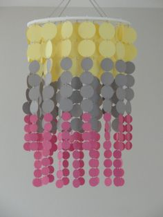 Circle mobile / chandelier in yellow gray and pink by WhimsyCreationsEF, $60.00