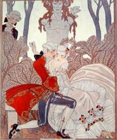 The Kiss ~ illustration for La Vie Parisienne by GeorgesBARBIER c.1923 (and I am off to foxtrot lessons :) queue on! xo xo)