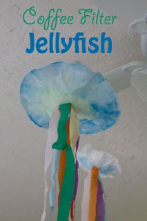 (use muffin papers instead; crepe paper for the stripes) Coffee Filter Jellyfish what a cute craft idea!