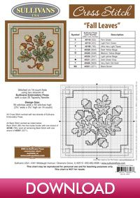 Autumn Collection Fall Leaves; free cross stitch pattern from Sullivans #Biscornu Inspiration #Cross-stitch