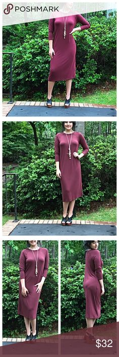 🆕 gorgeous burgundy midi dress Amazing fit gorgeous color burgundy midi dress PLEASE Use the Poshmark new option you can purchase and it will give you the option to pick the size you want ( all sizes are available) BUNDLE and save 10% ( no trades price is firm unless bundled) Dresses Midi
