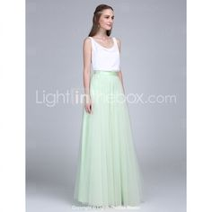 2017 Lanting Bride® Floor-length Tulle / Satin Chiffon Bridesmaid Dress - Two Pieces Sheath / Column Scoop with Buttons 5267714 2016 – $80.99