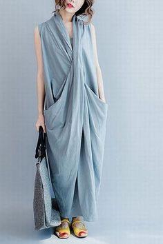 Gray Sleeveless Cross Summer long dresses Causal Dresses Plus Size Oversize Women Clothes Q6369