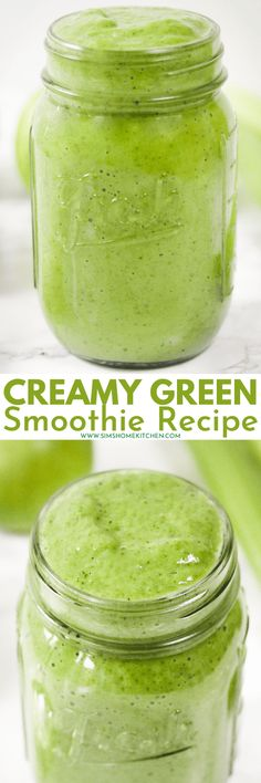 This creamy green smoothie recipe will leave you feeling invigorated! It includes bananas, avocado, spinach, celery, apples and almond milk. #creamy #green #smoothie #healthy #spinach #avocado