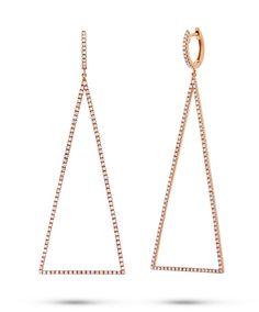 0.81ct 14k Gold Diamond Triangle Earrings