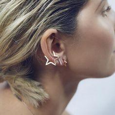 Timlee e012 gracia moda punk estilo de la estrella diseño de aleación pendientes de clip ¢ o del oído al por mayor