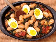 butter beans with kale & egg