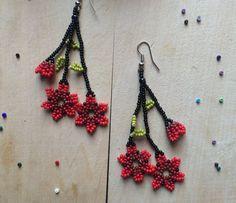 Seed Bead Jewelry, Seed Bead Earrings, Diy Earrings, Beaded Earrings Patterns, Beading Patterns, Handmade Beaded Jewelry, Earrings Handmade, Bead Sewing, Beading Tutorials