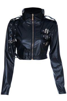 バックル飾り黒のビニールの長袖ジャケット ¥3,799