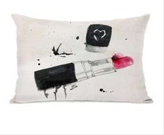 Lipstick Stains Tan Black Pillow