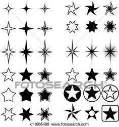 Vector collection of stars isolated on white background. - possible other star shapes - Star Tattoo Designs, Skull Tattoo Design, Star Tattoos, Body Art Tattoos, Tattoo Estrela, Happy Birthday Drawings, Cool Wrist Tattoos, Anime Stars, Butterfly Logo