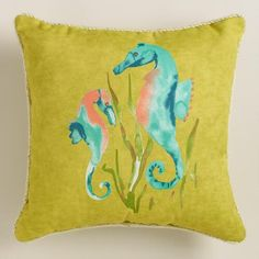 One of my favorite discoveries at WorldMarket.com: Seahorse Outdoor  Throw Pillow