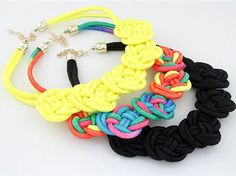 Nice Handmade Cotton Woven Chinese Knot Fluorescent Knit Rope Necklace Fashion #Unbranded