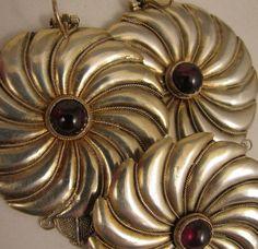 Vintage Sterling Silver Garnet Brooch + Pierced Earrings Pinwheel Set