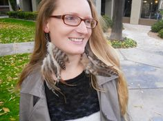 Gray and White Feather Earrings with Silver by JadedWingsDesigns