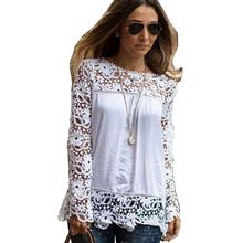 2015 New Plus Size 5XL Shirt Tops Women Long Sleeve Chiffon Lace Blouses Embroidered Floral Crochet Blouse Shirts Blusas SM6T109(China (Mainland))