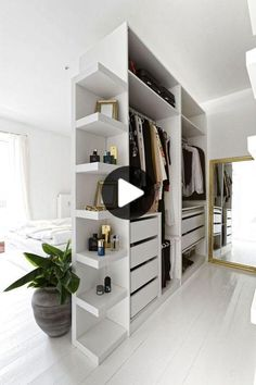 Bedroom Divider, Bedroom Closet Design, Closet Designs, Diy Bedroom, Ikea Room Divider, Bedroom Furniture, Modern Bedroom, Bedroom Design Minimalist, Bookshelf Room Divider