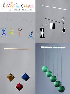 4 Montessori  Visual Mobiles-The Munari, Octahedron, Gobbi and Dancer Mobile (Free black and white art cards)-- can also be purchased separately