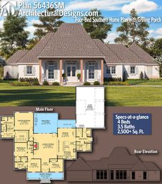 Architectural Designs Home Plan gives you 4 bedrooms, baths and - House Plans, Home Plan Designs, Floor Plans and Blueprints Southern House Plans, New House Plans, Country House Plans, Dream House Plans, Southern Homes, House Floor Plans, Acadian House Plans, Building Plans, Building A House
