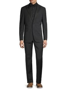Michael Bastian Modern-fit Tonal Striped Wool Suit In Black Michael Bastian, How To Hem Pants, Classic Suit, Wool Suit, Welt Pocket, Mens Suits, Suit Jacket, Mens Fashion, Long Sleeve