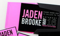 Neon pink and bright white on black acrylic make sleek modern bat mitzvah invitation. Neon pink and black inserts and outer envelope complete the set. Box Invitations, Bat Mitzvah Invitations, Black Acrylics, Bright Pink, Neon, Templates, Modern, How To Make, Basement